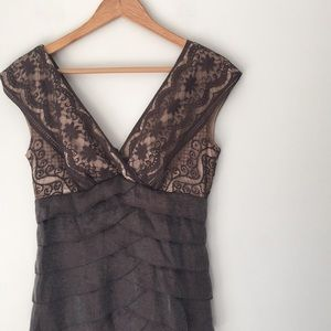 Adrianna Papell Brown Shimmer Cascade Lace Dress